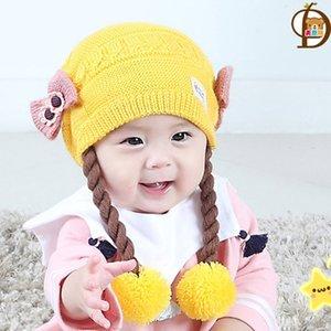 LOOZYKIT Зимнего Детский парик Cap ребёнка Caps Knit сгущает двухслойный Теплую длинную шерсть Детских шапок для девочек