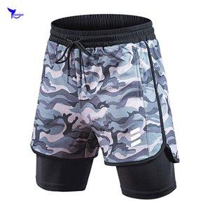 2020 camuflaje del verano Pantalones cortos para correr Men 2 en 1 Deportes pantalones jogging maratón de fitness en seco Formación Pantalones cortos rápida del gimnasio del deporte cortos