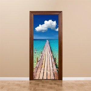 3D Creative Wall Decal Blue Sky Sea Wharf Self-adhesive Door Mural Art Poster Glass Wooden Doors Waterproof Wallpaper Stickers