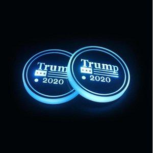 Автомобиль Luminous воды Coaster Mat Америка Выборы LED Красочные Интеллектуальные Luminous Cup Car Water Glass противоскольжения Mat 20шт T1I2046