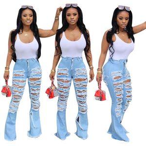 Trous mode Ripped Jeans 2020 Nouveautés Sexy Denim Pantalon Washed taille haute Pantalon droit Lady Jeans d'été