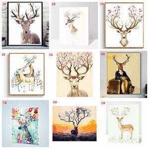 Diy pittura a olio decorata animale picture art vernice dipinta a mano cervo pittura a olio per divano decorazione della parete no frame 16 * 20 pollici VT1495-1