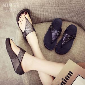 2019 New Slippers Damen Summer Fashion Wear nicht Beleg Mittlere Ferse weiche Unterseite mit Fischgrätmuster Thong starkem unterem Schwangere Frauen-Schuhen