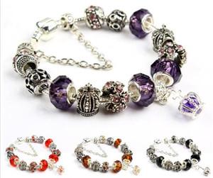 18 19 20 21cm Charm Bracelet 925 jóia de prata banhado casamento Pandor Pulseiras Royal Crown Acessórios roxo Crystal Bead Diy
