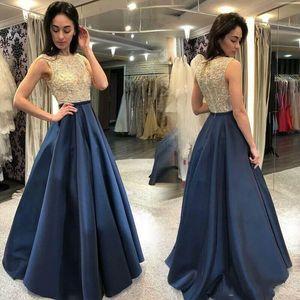 2020 Yeni Altın ve Mavi Gelinlik Modelleri Lacivert Şeffaf Boyun Başlıca Boncuklu Kat Uzunluk Düğün Misafir Parti Balo Abiye Giyim