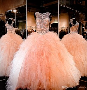 2020 Coral Peach Sheer Crystal Beading Rhinestone Ruffled Tulle Ball Gown Sweet 16 Dresses Lace-up Backless Ball Gown Quinceanera Dresses