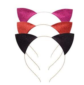 orelhas de gato Headband infantil Glitter gato headbands Cabelo Sticks Metal Head Hoop Holiday Party Fechos casamento Decoração Props GGA3346-2