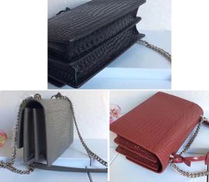 Krokodil-Muster-Handtasche Umhängetasche Tasche Silber Kette echtes Leder-Handtaschen-Metallkette Frauen Schultertasche 1711