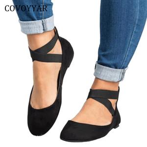 COVOYYAR Sıcak Kadınlar Ballet Flats 2019 İlkbahar Sonbahar Elastik Kayış Kadın Ayakkabı Geri Fermuar Casual Siyah Ayakkabı Büyük Boyutları WFS944