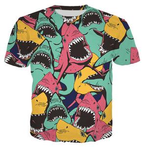 Os mais recentes Impresso 3D T-shirt de estilo tubarão manga curta Verão Casual Tops camisa Moda Tees O-Neck T DX028 Masculino
