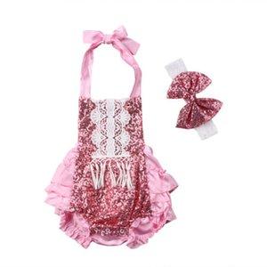 Emmababy mignon nouveau-né bébé Paillettes Romper Jumpsuit dentelle Sunsuit Combishort Vêtements Backless nouveau