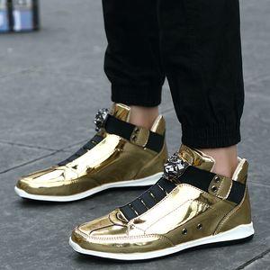 Bomlight Slip élastique Chaussures Homme Casual Leopard Head design en cuir Chaussures Homme mode Paillettes High Top Hommes Chaussures de marche