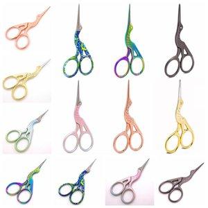 8stylesStainless aço Guindaste Scissors Forma animais para entalhar retro dourada banhado a ouro tesoura Beauty medida tesoura cabelo do nariz FFA2028 cortador