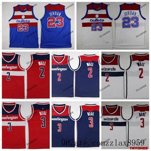 Washington WizardsJohn Wall 2 Bradley Beal 3 İl Basketbol Formalar Vintage Mermiler 23 Michael Jodannba Dikişli Gömlek 2019