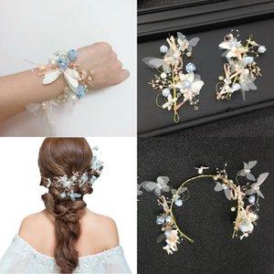 Schöne 3 stück blumen haar accesorries kopfschmuck tiara kronen handgelenk band haarteil haarbänder cpa3168