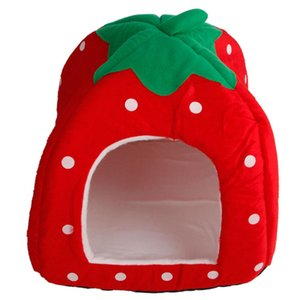 US-Stock Strawberry Mini Pet Home Dog Bed Puppy Dog Kennel Pet Bed House For Cat Rabbit Small Animals Home Dog House With Mat