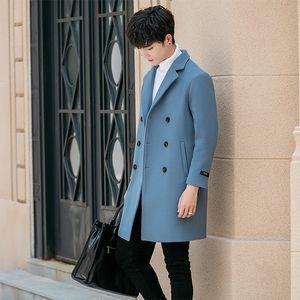 Mode-Winter langen Mantel Wolle Herren Abrigo Lana Chaqueta Larga Hombre Casual Wintermantel Manteau Homme Woolen Men Trench