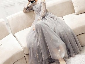 Tulle pleated puff sleeves long banquet evening dress female 2019 new autumn and winter dreams annual party dress