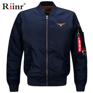 Riinr Kalite Bombacı Katı Rahat Ceket Erkekler Bahar Sonbahar Giyim Mandarin Spor Erkek Mont Erkek Mont M-6XL için