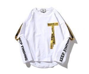 Erkek Tasarımcı Lone Kol Şerit T Shirt Hip Hop Moda Yuvarlak Boyun sahte iki adet hommes Gömlek dökün 6612