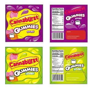 500mg Cannaburst Mylar-Tasche Kindergesicherte Edibles Leer Mäppchen Einzelhandel Lagerung Verpackung für trockene Kräuter Tabak Blume