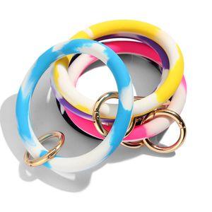 Women Soft Silicone Bracelet Keychains Wrist Key Ring Sports Green Bracelet Unisex Bright Colors Silicone O Bracelet Car Key Chain M014