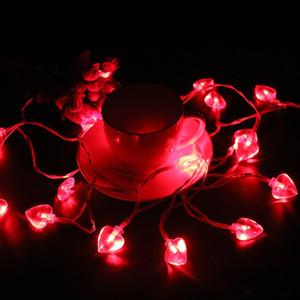 أضواء جديدة أدت سلسلة على شكل قلب 2M 20 LED غاطسة سلك على شكل قلب سلسلة الأنوار البطارية الجنية أضواء الزفاف الديكور