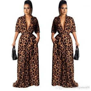 Макси Платья Осень V Образным Вырезом Половина Рукава Сексуальная Женская Одежда Мода Стиль Повседневная Одежда Женская Leopard Desinger