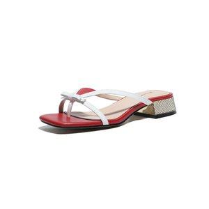 2020 New Women Summer Flip-flops 3cm Low Heels Slipper Genuine Leather Shoes Woman Sandals Open Toe Ladies Slippers