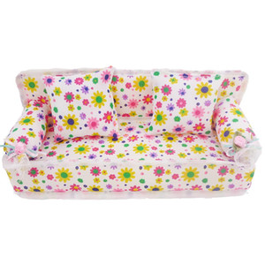 Fashion Mini Flower Cloth Sofa With 2 Full Cushions Bedroom Dollhouse Furniture For Barbie Doll Accessories Baby Kid's Gift Toy