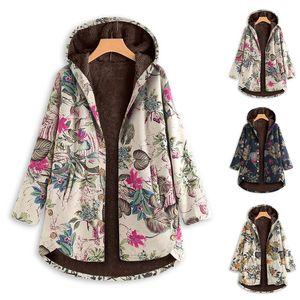 여성 인쇄 코트 3 색 여성 작은 꽃 후드 티 벨벳 두꺼워 플러스 사이즈 S-5XL 060,629으로 중간 길이의 코트를 따뜻하게 싱글