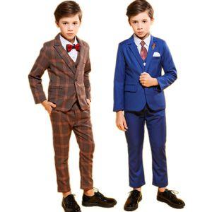 Wedding Boys Formal Tuxedo Suit Set Brand Kids Blazer Vest Pants 3pcs Clothing Set School Children Performance Costume Outfits T200707