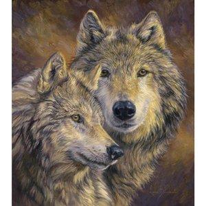 Handmade canvas art pet portraits in oil The Bond modern wolf paintings for living room decor