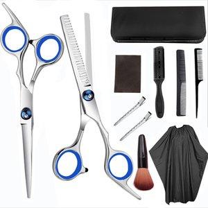 10pcs 11pcs Hair Scissor 6 Inch Barber Hairdressing Cutting Professional Shear Stainless Steel Thinning Scissor Salon Set J1100