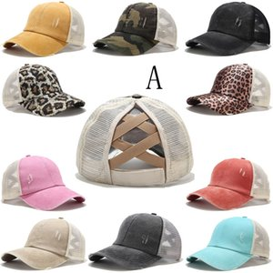 Coda di cavallo Berretto da baseball Tie Dye Paillettes Messy Bun Criss Cross Snapback Caps Summer Party Visiera esterna Cappello DDA68
