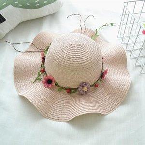 Summer Sunscreen Grass Braid Girl Hat Moda Flor de ala ancha Sombreros Playa al aire libre Casquillo ocasional para mujeres