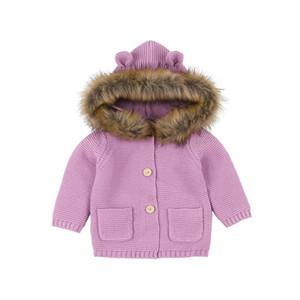enfants vêtements griffés garçons filles Outwear infantile en fausse fourrure à capuche manteau Printemps Automne Cardigan pull mode bébé Vêtements 2 couleurs C6849