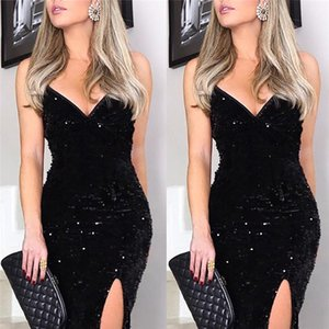 Sexy V Neck Womens Designer Dresses Fashion Split Sequins Panelled Womens Spaghetti Strap Maxi Dresses Casual Females Clothing