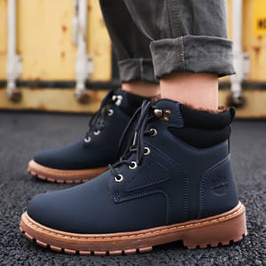 Hot Sale Winter Men Boots PU Outdoor Snow Ankle Boots Male Lace Up Anti-slip Booties British Sneakers
