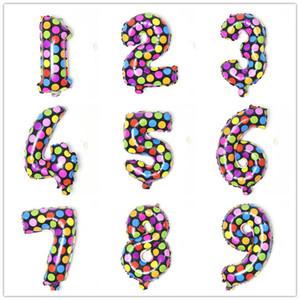 16inch rotonda variopinta dei puntini di alluminio del rivestimento Numero Balloons bambini giocattoli partito di buon compleanno regali di nozze Decorazioni CCA11810-A 500pcs