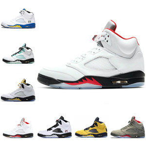 2020 Nike Air Jordan 5 retro jordans MICHIGAN 2020 Black Grape Fire Red Ice Blue Universität Red JSP Laney PSG Mens Trainer Stiefel