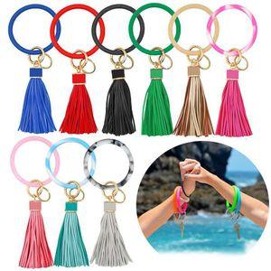 Circle Silicone Bracelet Keychain Personalized Solid Color Glitter Bracelets Key Ring Bangle Key Holder Halloween Party Gift