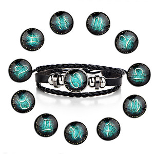 FASHION 12 Constellations Leather Zodiac Sign with  Bangle Bracelets For Men Boys adjustable Bracelet Jewelry Gifts