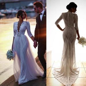 Elegante bohemain Vestidos de noiva sereia 2020 Profunda V Neck Illusion Lace vestidos de noiva mangas compridas vestido de casamento personalizado Plus Size