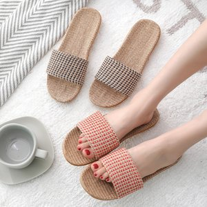 Suihyung Women Flax Slippers 2020 New Summer Lovers Beach Shoes Weave Plaid Casual Slides Flat Sandals Ladies Flip Flops