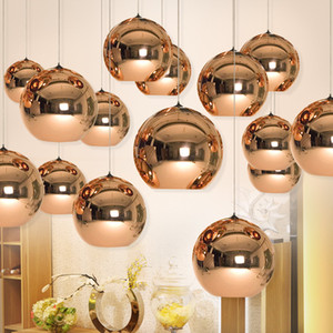 Ensemble complet LED Lampe Suspension Cuivre Sliver Shade Miroir Lustre Lumière E27 Ampoule Moderne Noël Lustres En Verre Boule De Poudre droplight éclairage