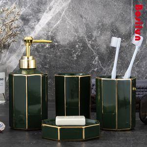 Bathroom Sets Shower Curtain Set Nordic Style Light Luxury Ceramic Bathroom Wash Set Creative Home Hotel Toothbrush Holder Wash Bottle Bathr