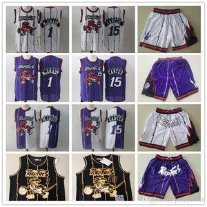 Mens TorontoRaptorsThrowback Jerseys Vince Carter 15 Tracy McGrady 1 Basketballshorts Basketball Jersey lila Weiß-Schwarz-Gold