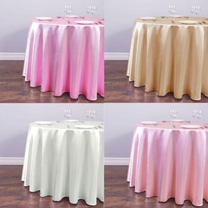 Tablecloth Solid Table 1pcs Party Christmas Satin Decorations For Wedding 22 Round Modern Color Covers Efgkp