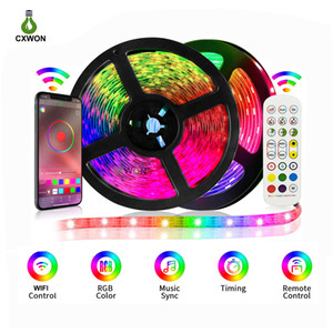 RGB LED Light Strip Flexible Light LED Ribbon Tape 5050SMD 16.4ft 32.8ft Strip Kit Wifi Bluetooth Music Sync Controller + Adapter Included